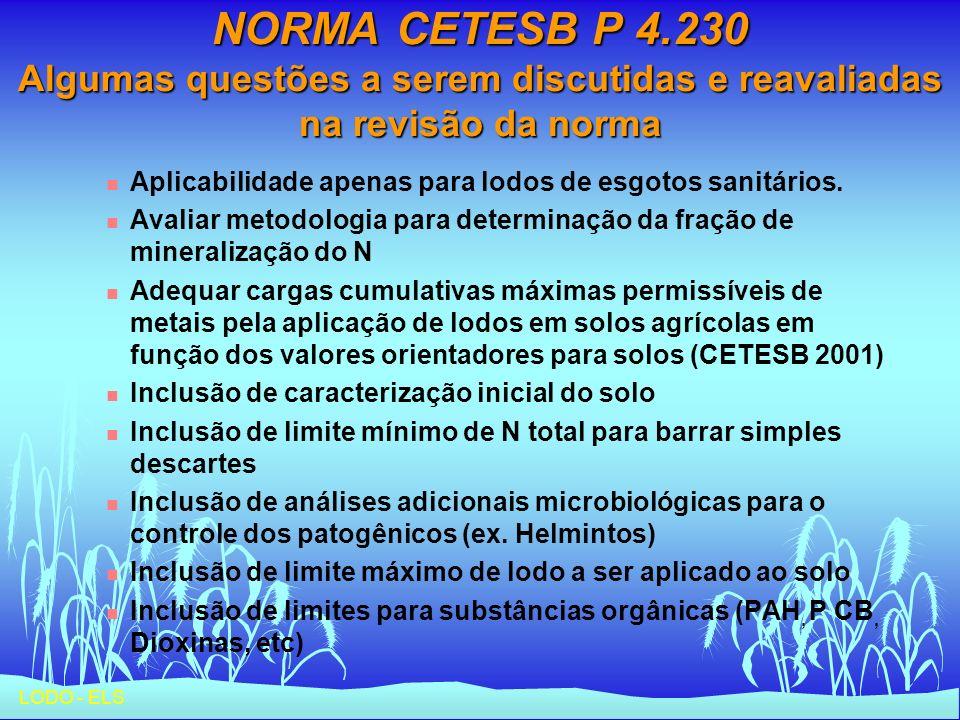 NORMA CETESB P 4.230 Algumas questões a serem discutidas e reavaliadas na revisão da norma