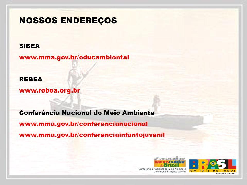 NOSSOS ENDEREÇOS SIBEA www.mma.gov.br/educambiental REBEA