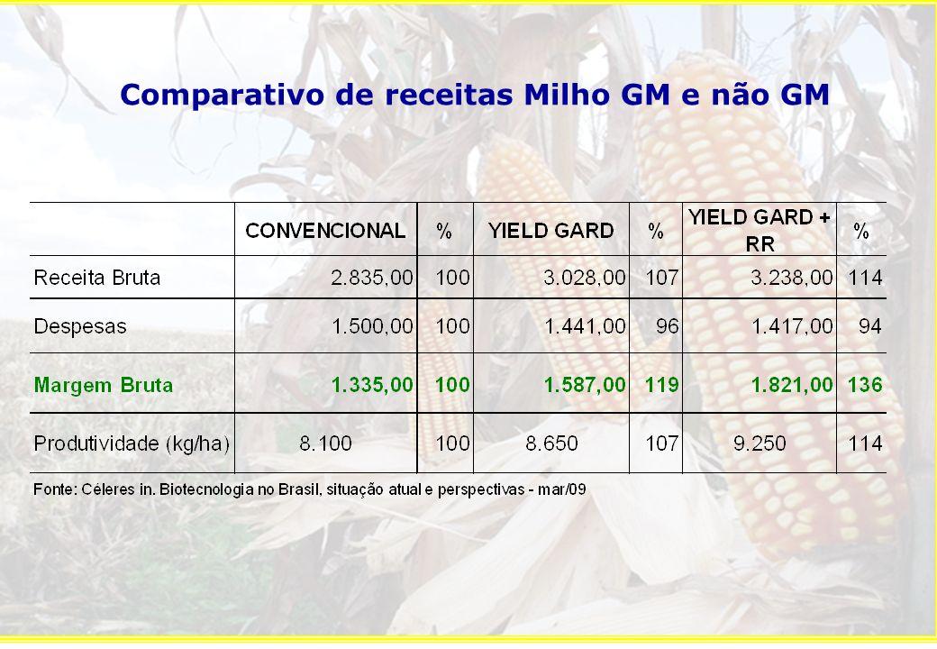 Comparativo de receitas Milho GM e não GM