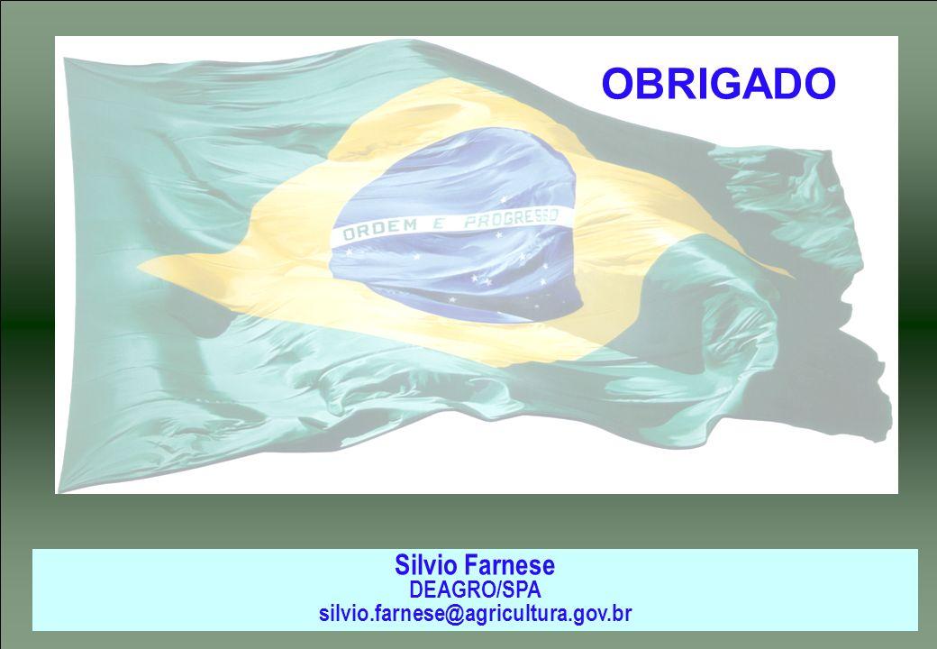 OBRIGADO Silvio Farnese DEAGRO/SPA silvio.farnese@agricultura.gov.br