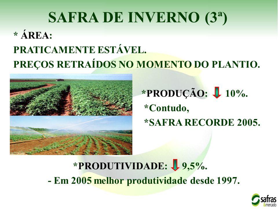 - Em 2005 melhor produtividade desde 1997.