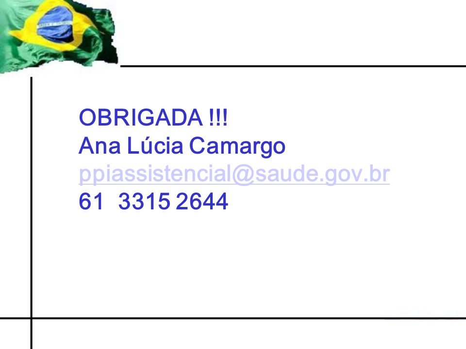 OBRIGADA !!! Ana Lúcia Camargo ppiassistencial@saude.gov.br 61 3315 2644