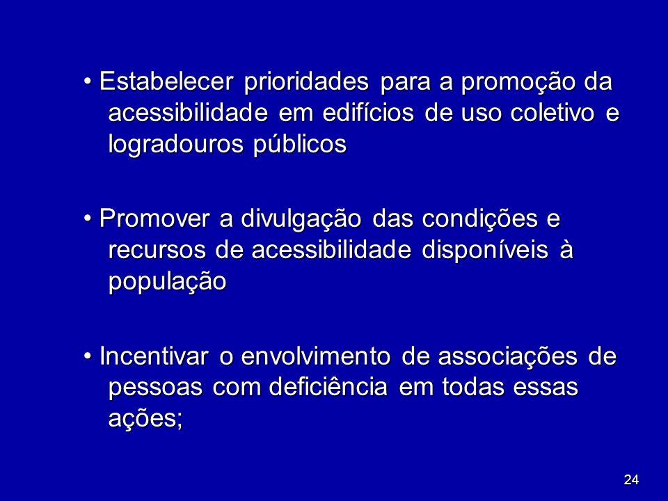• Estabelecer prioridades para a promoção da acessibilidade em edifícios de uso coletivo e logradouros públicos