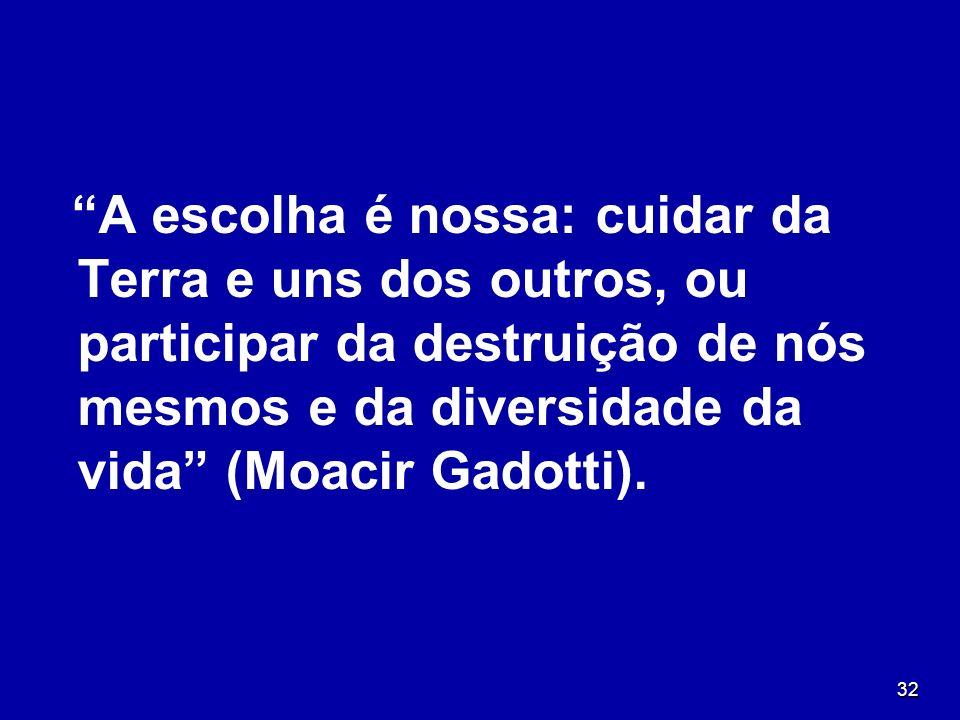 A escolha é nossa: cuidar da Terra e uns dos outros, ou participar da destruição de nós mesmos e da diversidade da vida (Moacir Gadotti).