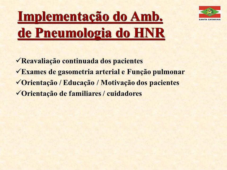 Implementação do Amb. de Pneumologia do HNR