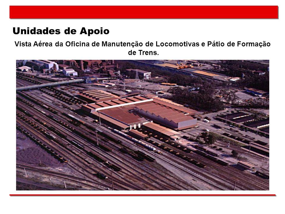 Unidades de Apoio Vista Aérea da Oficina de Manutenção de Locomotivas e Pátio de Formação de Trens.
