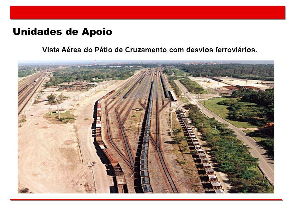Vista Aérea do Pátio de Cruzamento com desvios ferroviários.