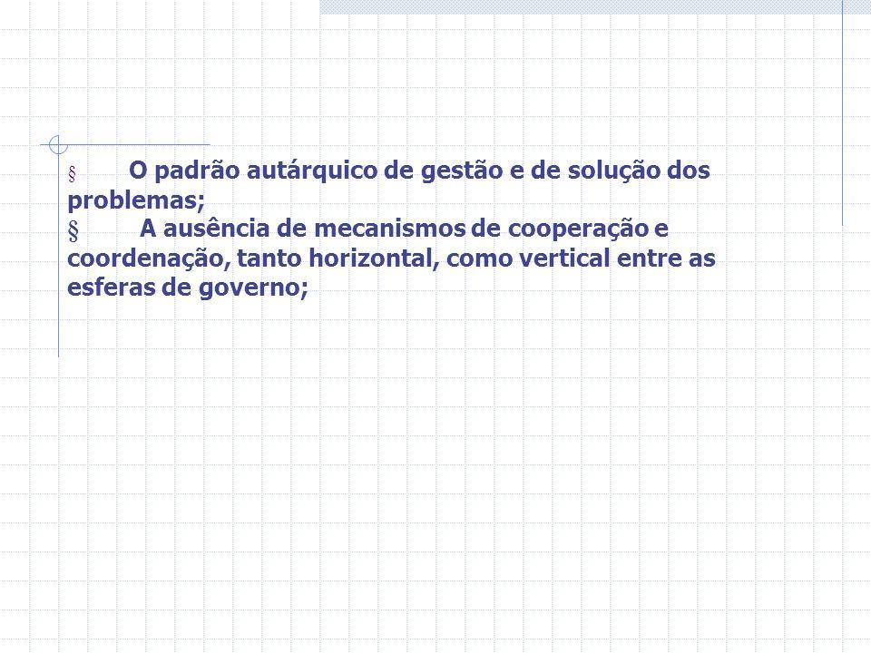 § O padrão autárquico de gestão e de solução dos problemas; § A ausência de mecanismos de cooperação e coordenação, tanto horizontal, como vertical entre as esferas de governo;