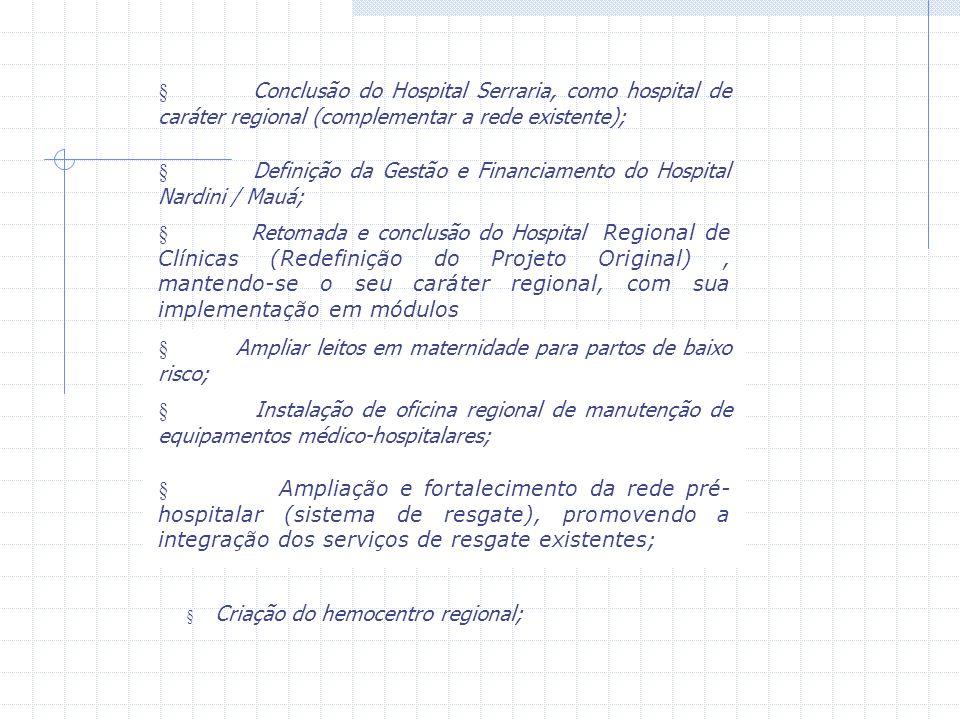 § Definição da Gestão e Financiamento do Hospital Nardini / Mauá;