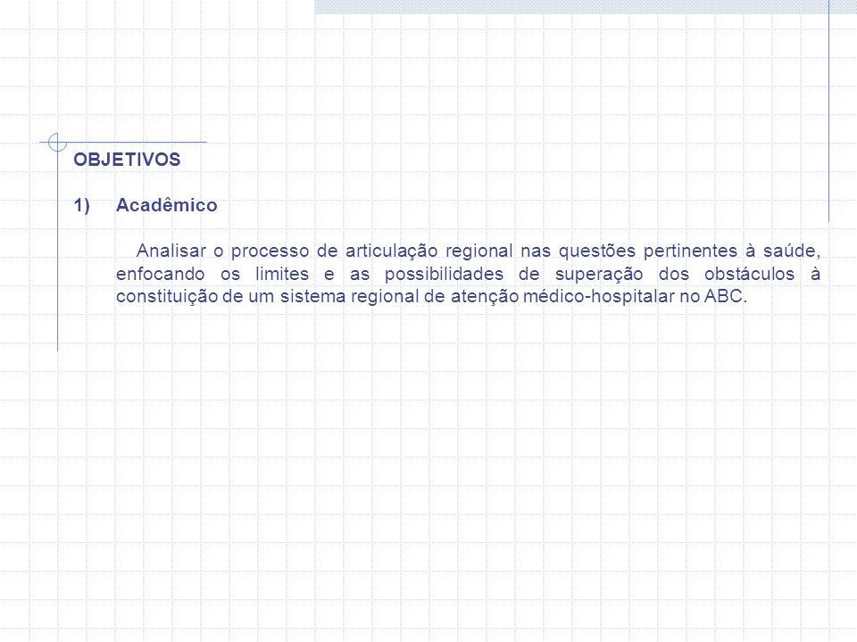 OBJETIVOS Acadêmico.