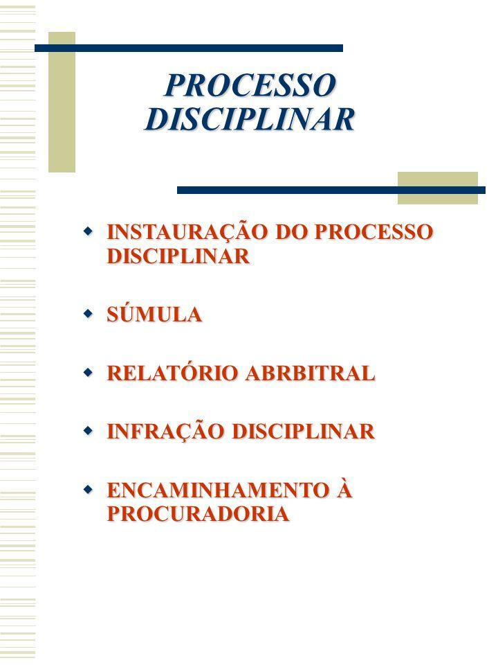 PROCESSO DISCIPLINAR INSTAURAÇÃO DO PROCESSO DISCIPLINAR SÚMULA