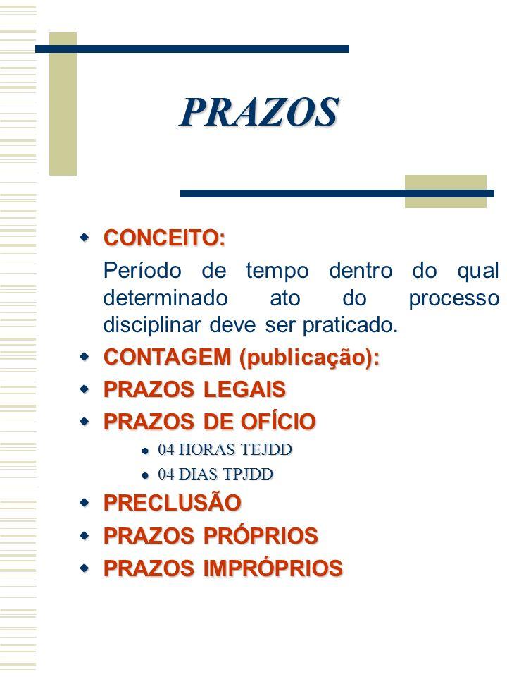 PRAZOS CONCEITO: Período de tempo dentro do qual determinado ato do processo disciplinar deve ser praticado.