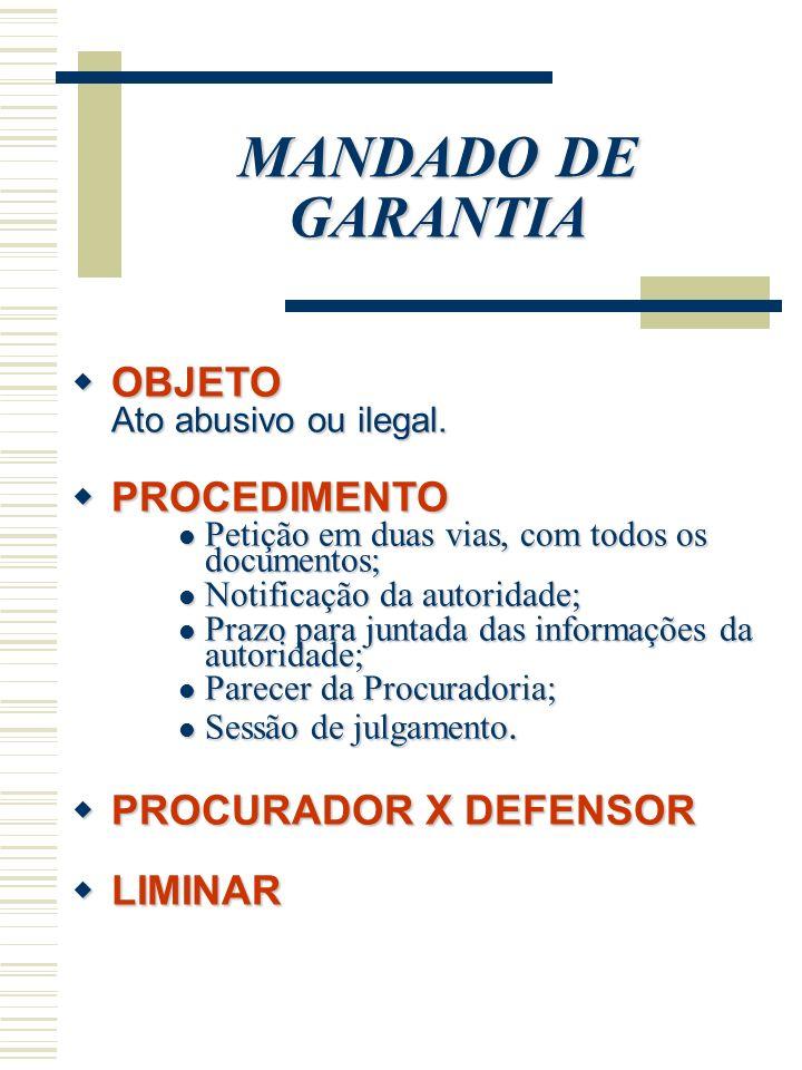 MANDADO DE GARANTIA OBJETO PROCEDIMENTO PROCURADOR X DEFENSOR LIMINAR