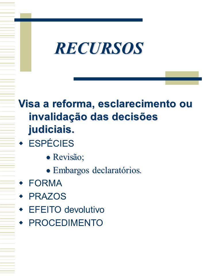 RECURSOSVisa a reforma, esclarecimento ou invalidação das decisões judiciais. ESPÉCIES. Revisão; Embargos declaratórios.