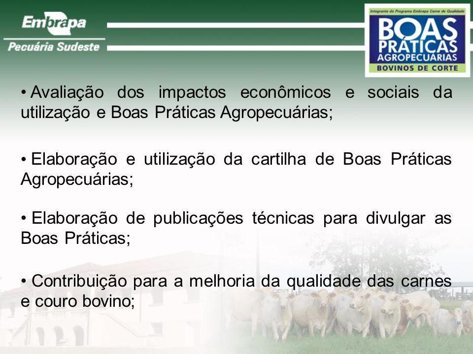 Avaliação dos impactos econômicos e sociais da utilização e Boas Práticas Agropecuárias;