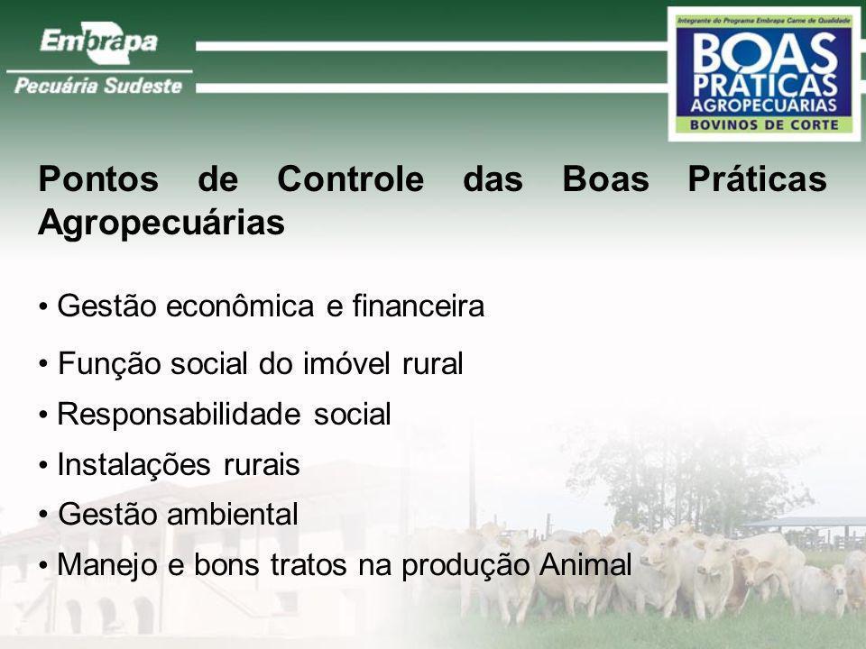 Pontos de Controle das Boas Práticas Agropecuárias