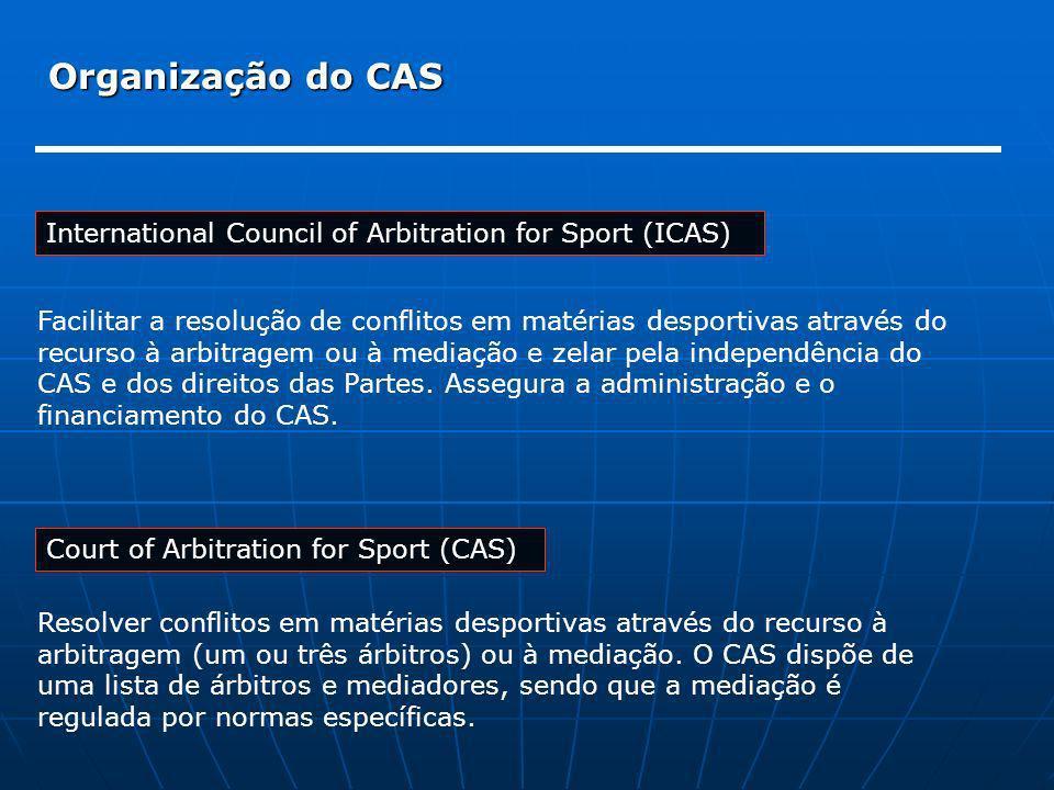 Organização do CAS International Council of Arbitration for Sport (ICAS) Facilitar a resolução de conflitos em matérias desportivas através do.