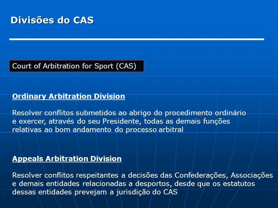 Divisões do CAS Court of Arbitration for Sport (CAS)