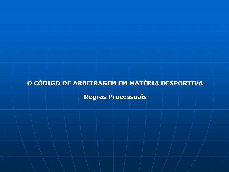 O CÓDIGO DE ARBITRAGEM EM MATÉRIA DESPORTIVA