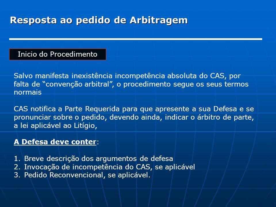 Resposta ao pedido de Arbitragem