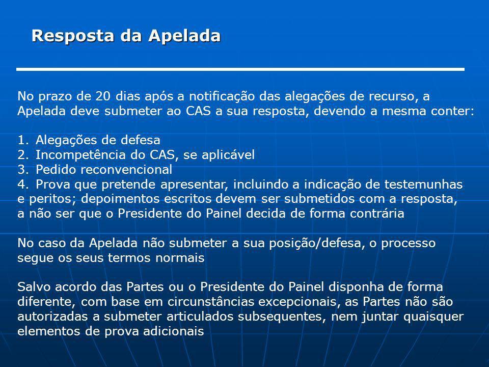 Resposta da Apelada No prazo de 20 dias após a notificação das alegações de recurso, a.