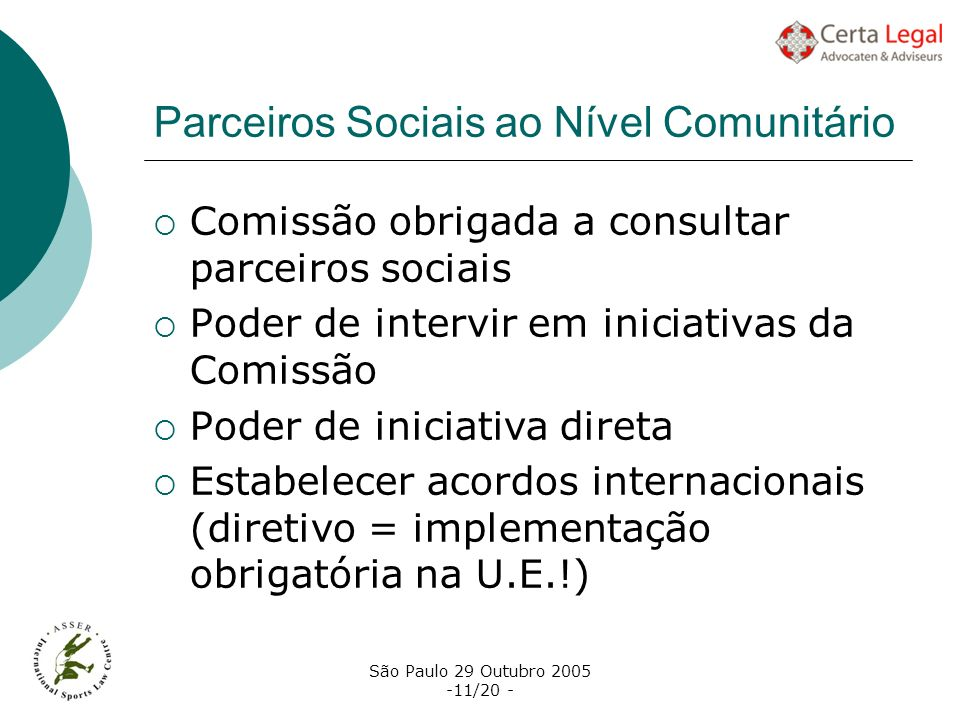 Parceiros Sociais ao Nível Comunitário