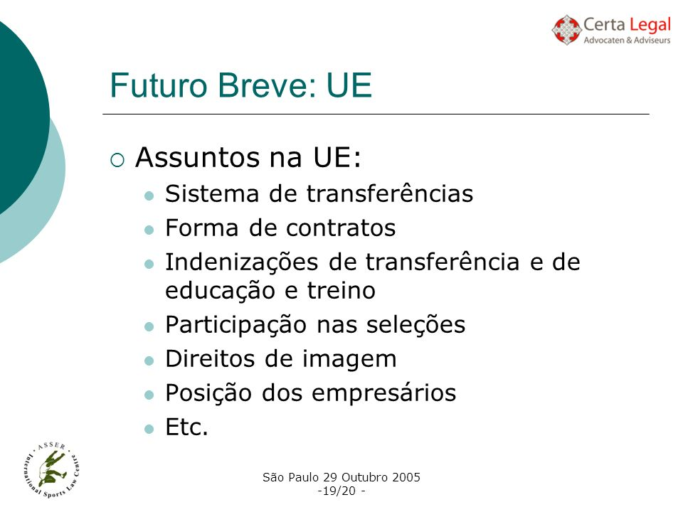Futuro Breve: UE Assuntos na UE: Sistema de transferências