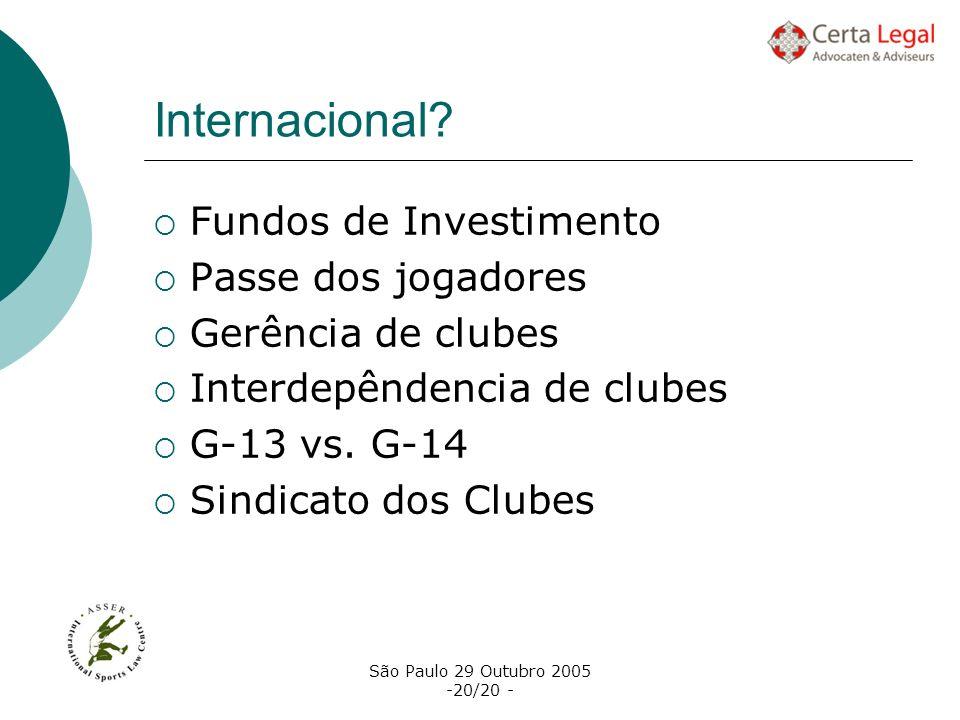Internacional Fundos de Investimento Passe dos jogadores