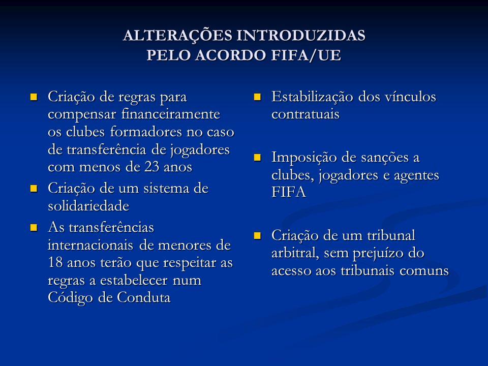 ALTERAÇÕES INTRODUZIDAS PELO ACORDO FIFA/UE