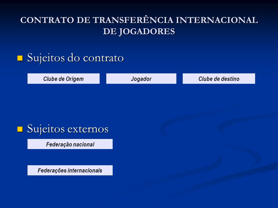 CONTRATO DE TRANSFERÊNCIA INTERNACIONAL DE JOGADORES
