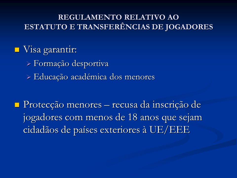 REGULAMENTO RELATIVO AO ESTATUTO E TRANSFERÊNCIAS DE JOGADORES