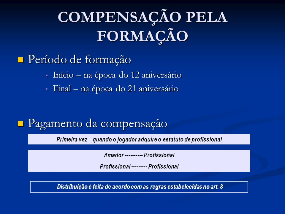 COMPENSAÇÃO PELA FORMAÇÃO