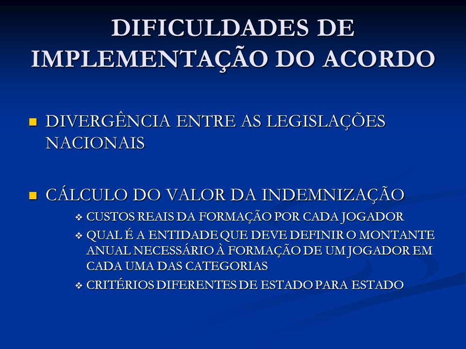 DIFICULDADES DE IMPLEMENTAÇÃO DO ACORDO