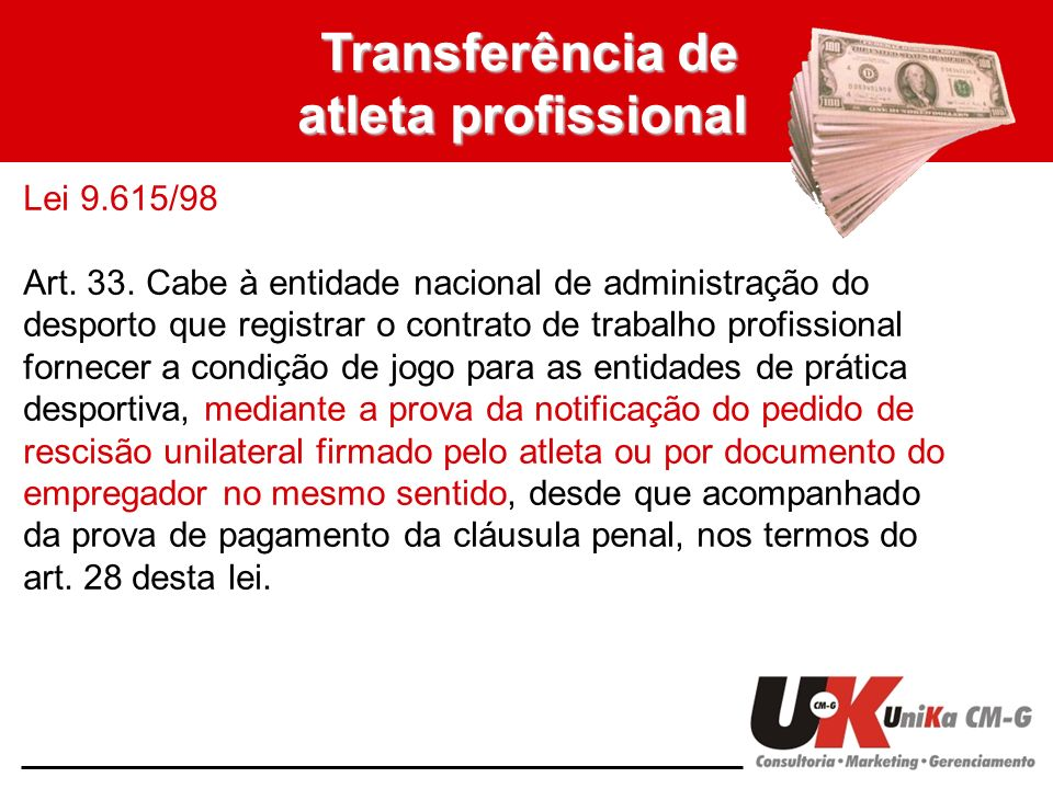 Transferência de atleta profissional Lei 9.615/98