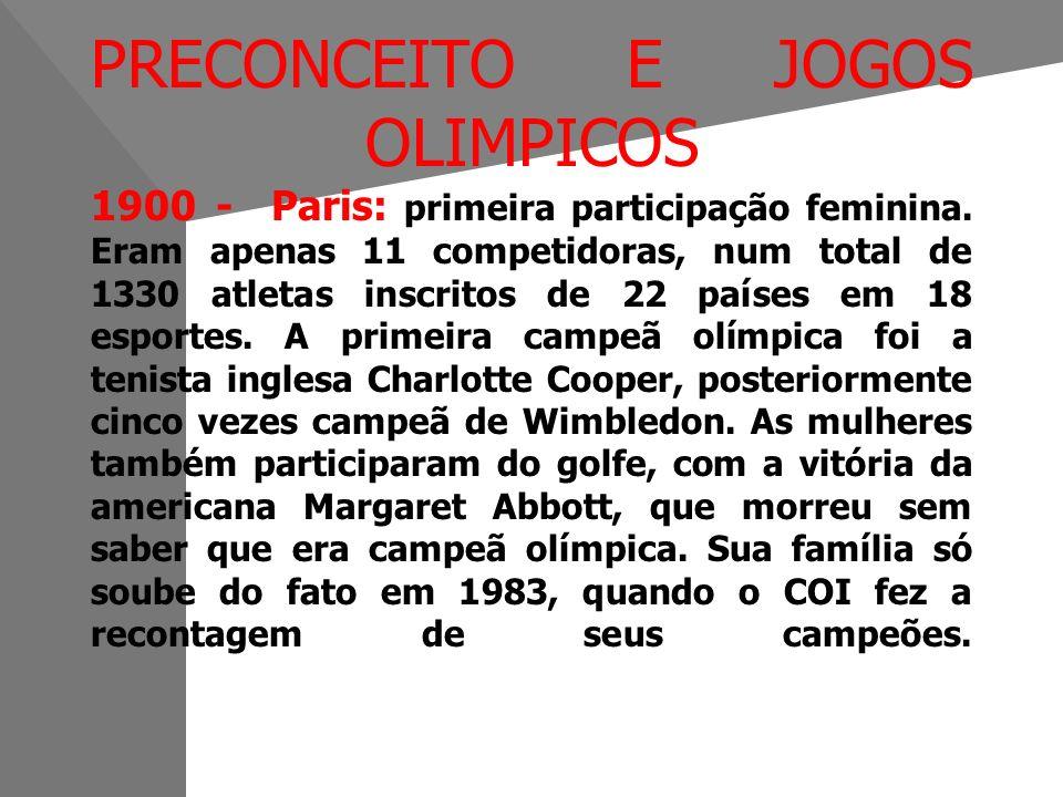 PRECONCEITO E JOGOS OLIMPICOS 1900 - Paris: primeira participação feminina.