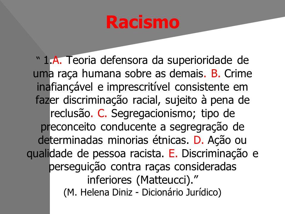 Racismo 1.A. Teoria defensora da superioridade de uma raça humana sobre as demais.