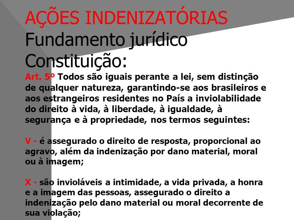 AÇÕES INDENIZATÓRIAS Fundamento jurídico Constituição: Art