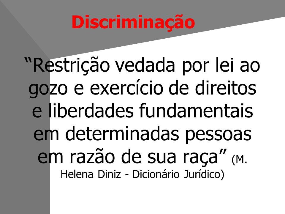 Discriminação Restrição vedada por lei ao gozo e exercício de direitos e liberdades fundamentais em determinadas pessoas em razão de sua raça (M.