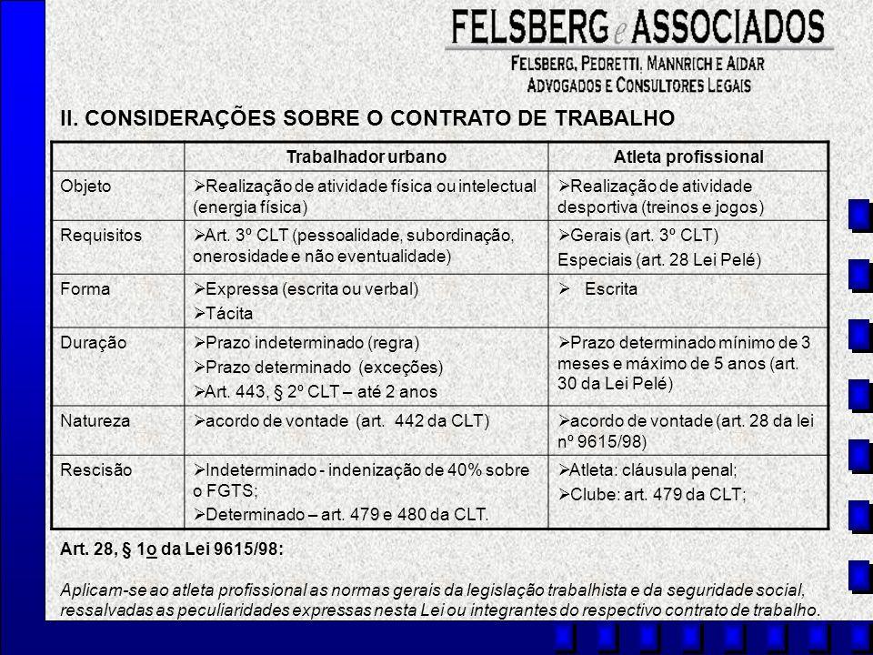 II. CONSIDERAÇÕES SOBRE O CONTRATO DE TRABALHO
