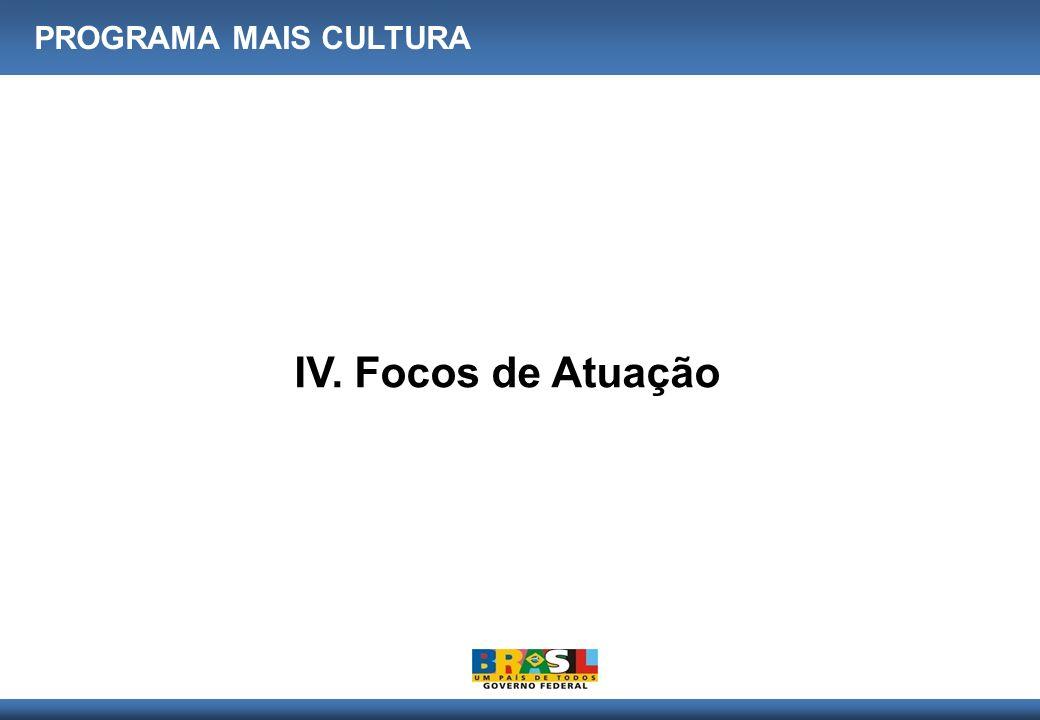 PROGRAMA MAIS CULTURA IV. Focos de Atuação