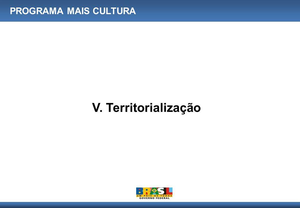 PROGRAMA MAIS CULTURA V. Territorialização