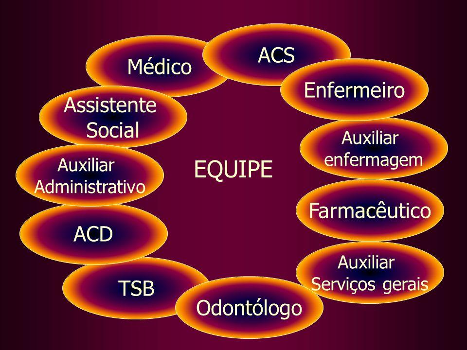 EQUIPE ACS Médico Enfermeiro Assistente Social Farmacêutico ACD TSB