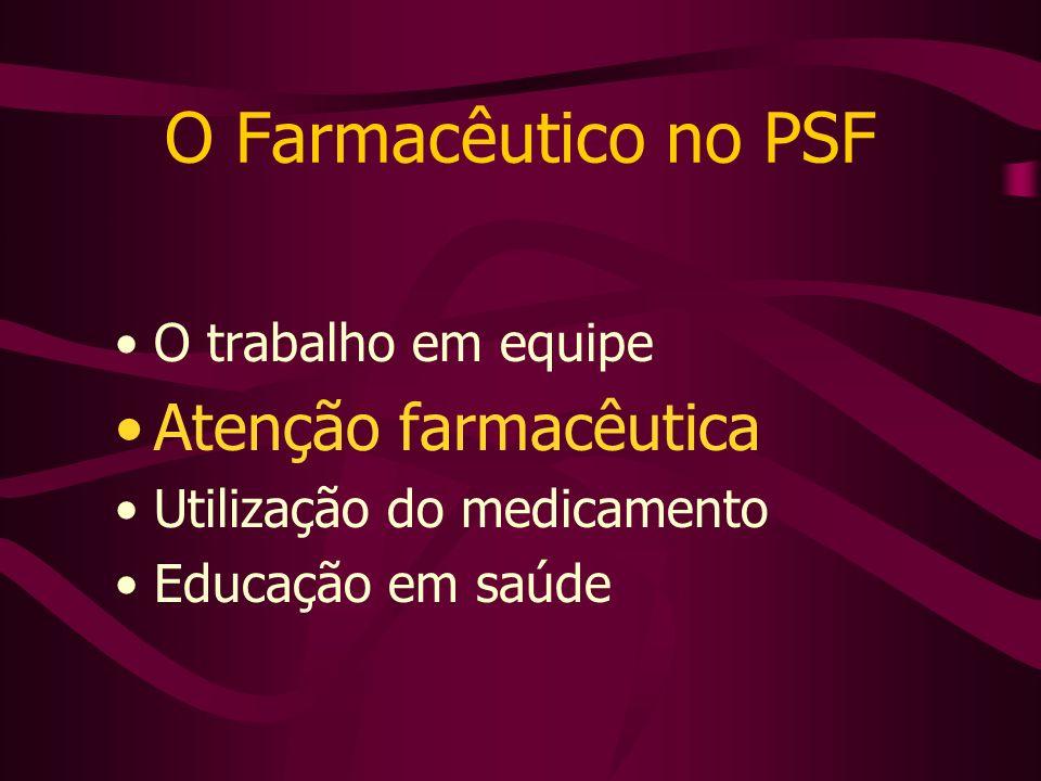 O Farmacêutico no PSF Atenção farmacêutica O trabalho em equipe
