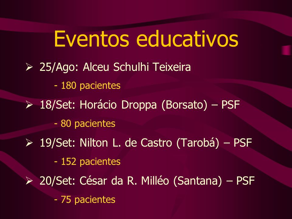 Eventos educativos 25/Ago: Alceu Schulhi Teixeira