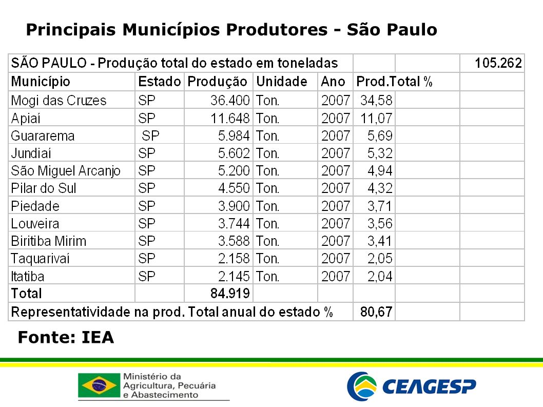 Principais Municípios Produtores - São Paulo