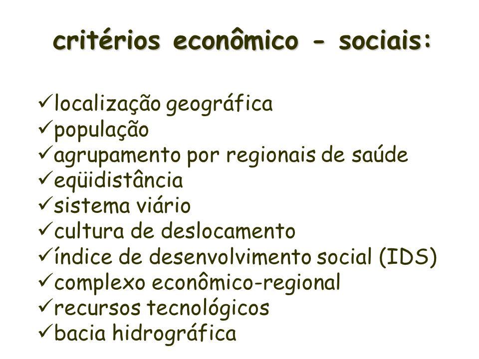 critérios econômico - sociais: