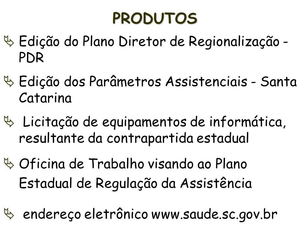 PRODUTOS Edição do Plano Diretor de Regionalização - PDR