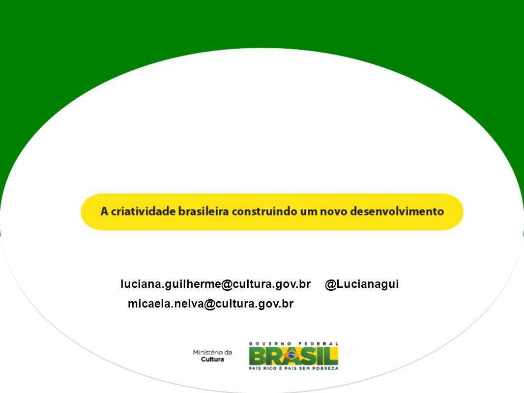 luciana.guilherme@cultura.gov.br @Lucianagui micaela.neiva@cultura.gov.br
