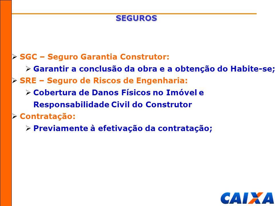 SEGUROS SGC – Seguro Garantia Construtor: Garantir a conclusão da obra e a obtenção do Habite-se; SRE – Seguro de Riscos de Engenharia:
