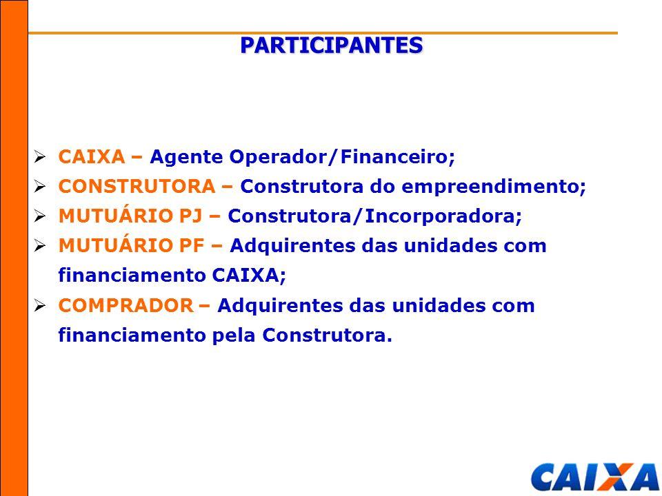 PARTICIPANTES CAIXA – Agente Operador/Financeiro;